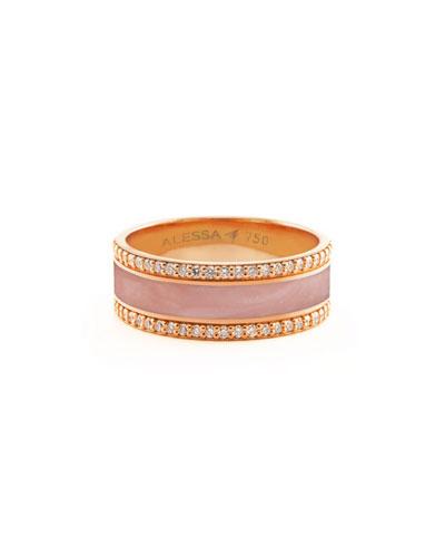 Spectrum Painted 18k Rose Gold Ring w/ Diamond Trim  Pink  Size 8.5