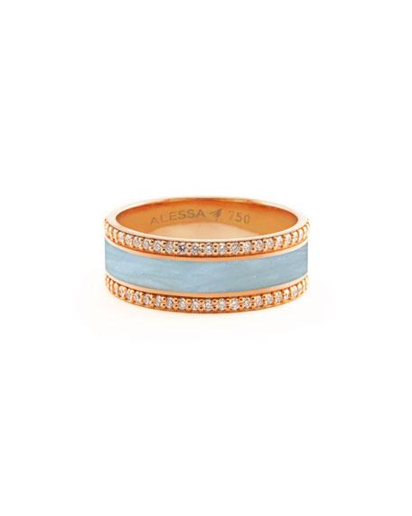 Alessa Jewelry Spectrum Painted 18k Rose Gold Ring w/ Diamond Trim, Light Blue, Size 8.5