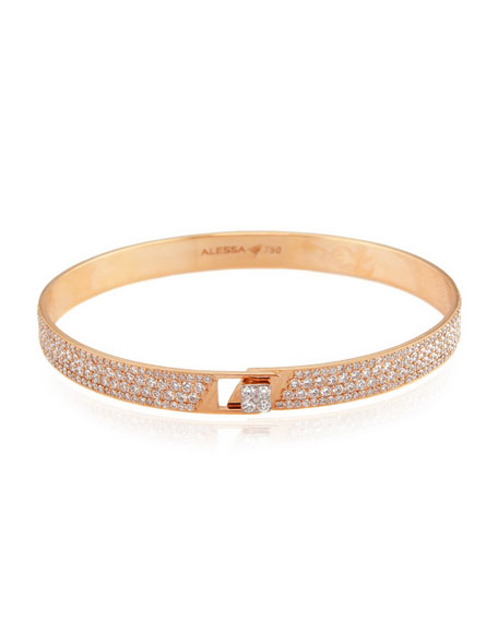 Alessa Jewelry Spectrum 18k Rose Gold Bangle w/ Pave Diamonds, Size 17