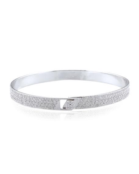 Alessa Jewelry Spectrum 18k White Gold Bangle w/ Pave Diamonds, Size 17