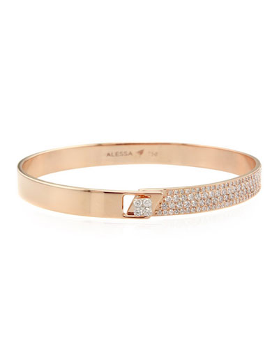 Spectrum 18k Rose Gold Bangle w/ Diamonds  Size 18