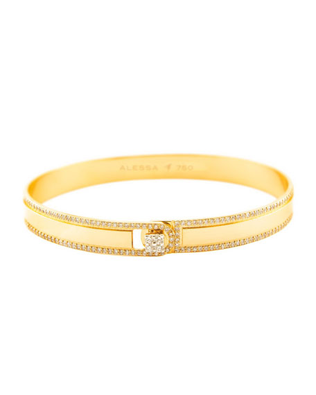 Alessa Jewelry Spectrum Painted 18k Yellow Gold Bangle w/ Diamonds, Yellow, Size 17