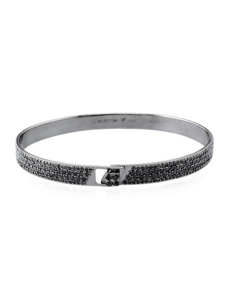 Alessa Jewelry Spectrum 18k Black Gold Bangle w/ Pave Black Diamonds, Size 18