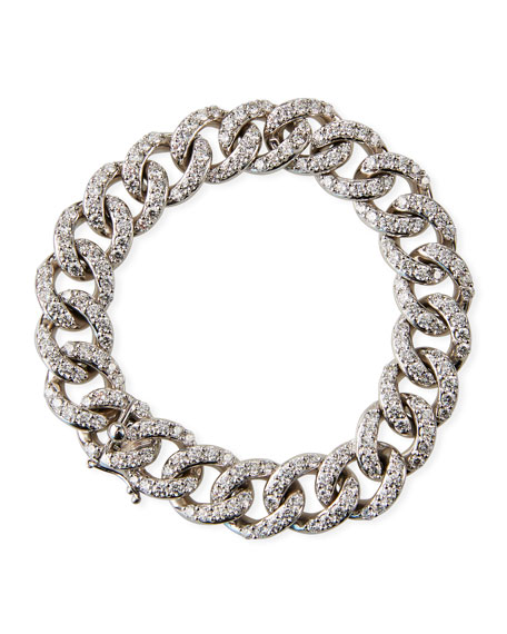 Image 1 of 2: Leo Pizzo 18k White Gold Diamond Curb-Link Bracelet