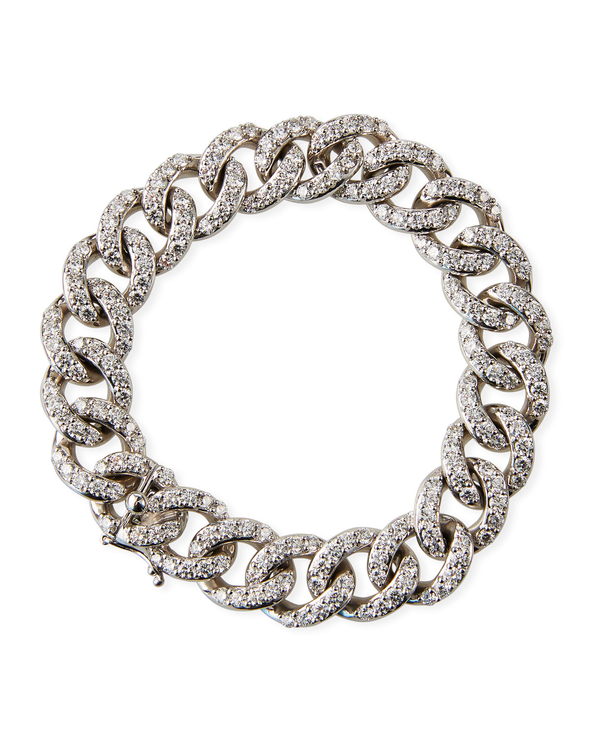 Leo Pizzo 18k White Gold Diamond Curb-Link Bracelet