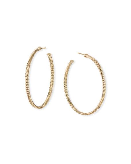 "David Yurman 18k Cablespira Hoop Earrings, 2"""