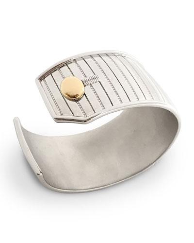 Sterling Silver & 18K Yellow Gold Pinstripe Cuff Bracelet