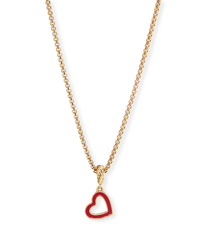 Cable Collectibles 18k Gold Heart Pendant  Red
