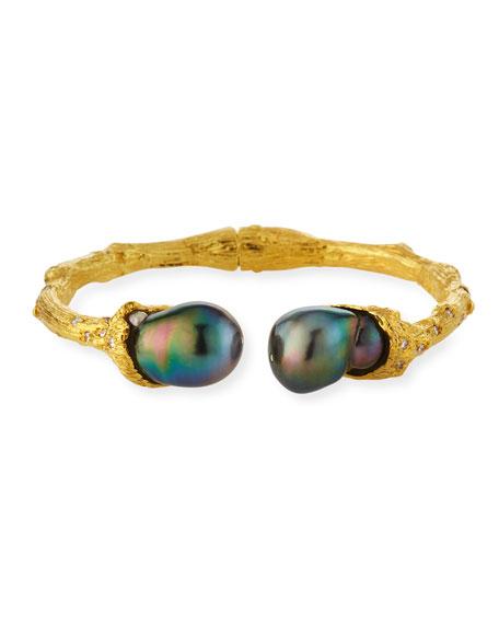 K Brunini 18k Diamond & Pearl Bangle