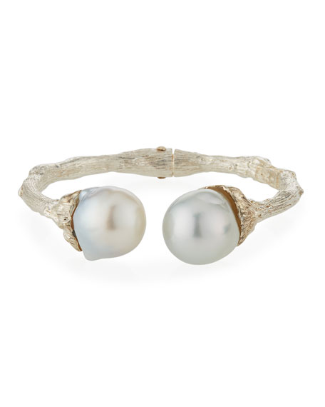 K Brunini Large Twig 16mm Pearl Bangle