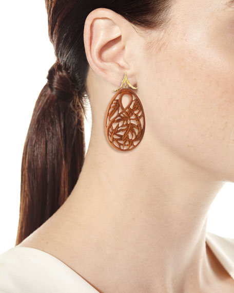 K Brunini 18k Yellow Gold Carved Bamboo Earrings