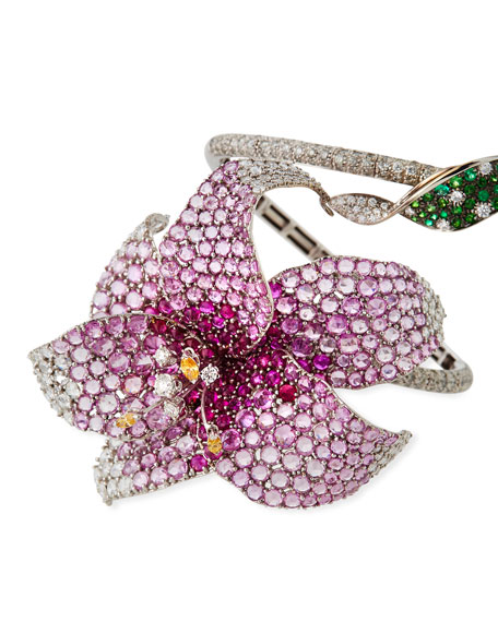 Staurino 18k White Gold Diamond & Sapphire Lily Spiral Bracelet