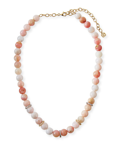 Sydney Evan 14k Diamond Rondelle & Pink Opal Necklace