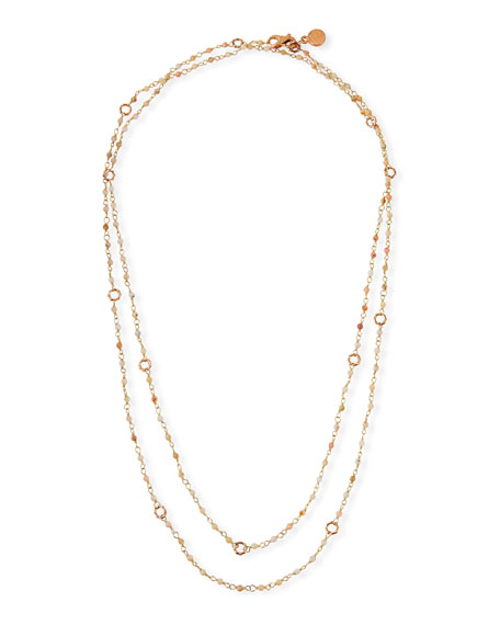 "Dominique Cohen Sloan 18k Rose Gold Pink Opal & Bamboo Link Necklace, 42""L"