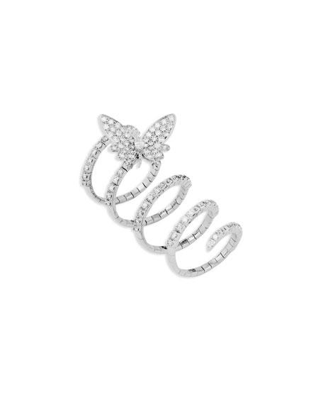 Staurino 18k White Gold Flexible Diamond Butterfly Ring, Size 7.25