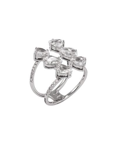 18k White Gold 6-Diamond Ring  Size 6.25
