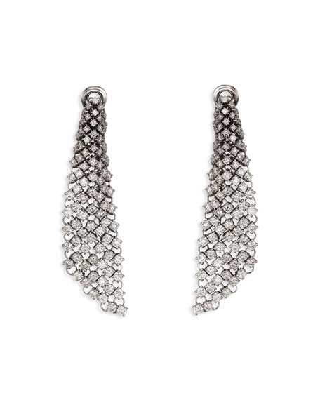 Staurino Couture 18k White Gold Diamond Mesh Drop Earrings