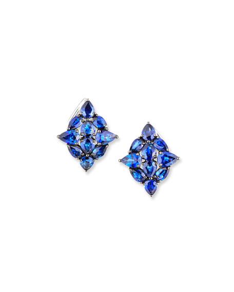Etho Maria 18k White Gold Sapphire Leaf Earrings