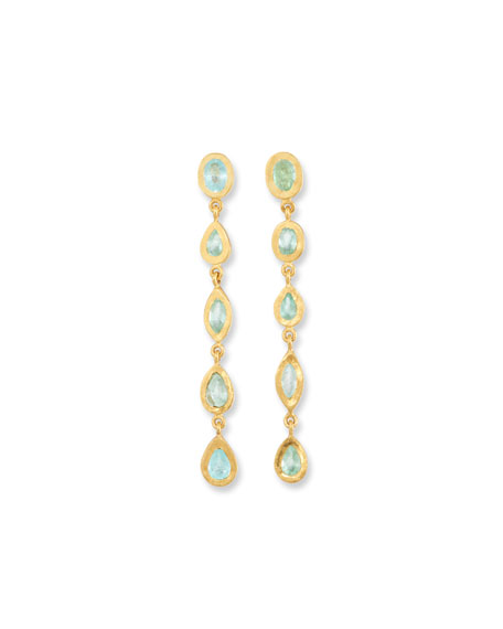 Yossi Harari 24k Gold Carmen Tourmaline Long Drop Earrings