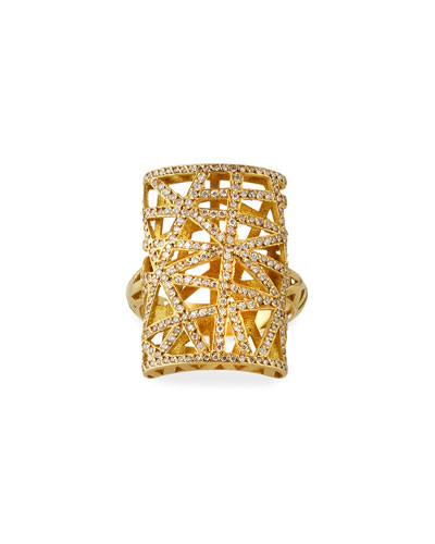 18k Diamond Pave Rectangular Lace Ring