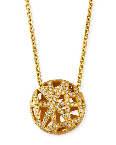 18k Diamond Pave Overlap Lace Pendant Necklace