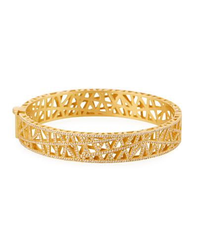 18k Yellow Gold Small Pave Diamond Lace Cuff