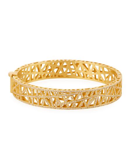 Yossi Harari 18k Yellow Gold Small Pave Diamond Lace Cuff