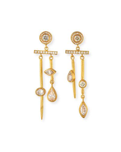 24k 2-Bar Diamond Earrings
