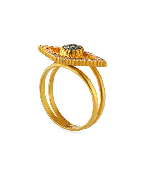 Yossi Harari Liliah 18k Blue & White Diamond Eye Ring