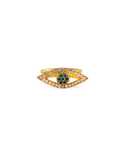 Liliah 18k Blue & White Diamond Eye Ring