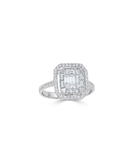 ZYDO Mosaic 18k White Gold Mixed-Cut Diamond Ring, Size 5