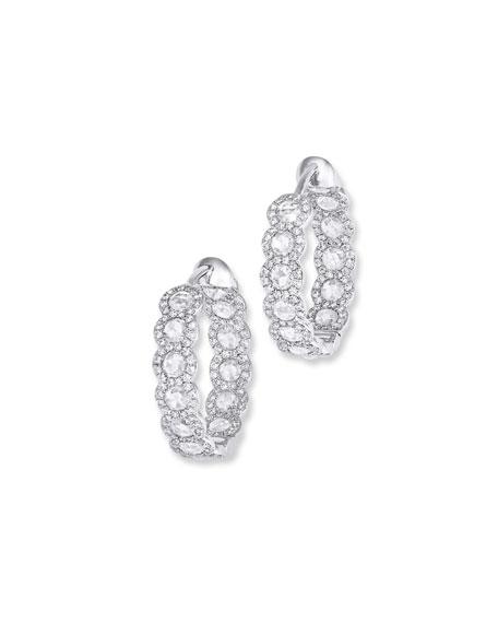 """64 Facets 18k White Gold Diamond Inside-Out Hoop Earrings, 0.75"""""""