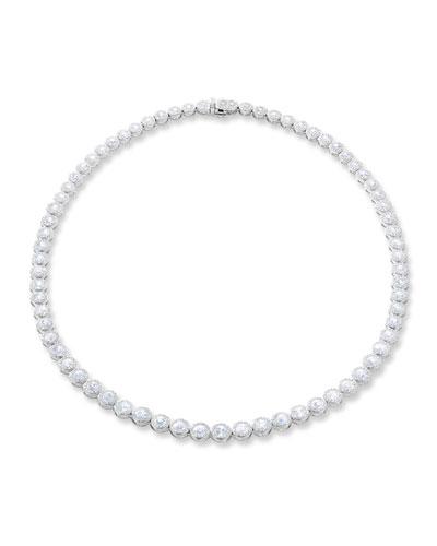 18k White Gold Graduating Diamond Tennis Necklace  16L