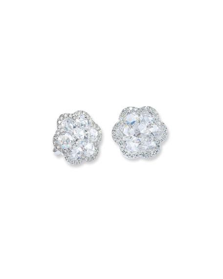 64 Facets 18k White Gold Diamond Flower Stud Earrings