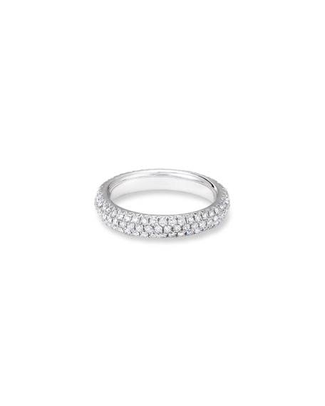 64 Facets 18k White Gold Smooth Diamond Pave Ring, Size 6