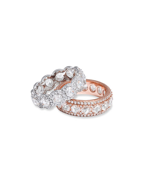 64 Facets 18k Rose Gold Diamond Ring w/ Pave Trim, Size 6