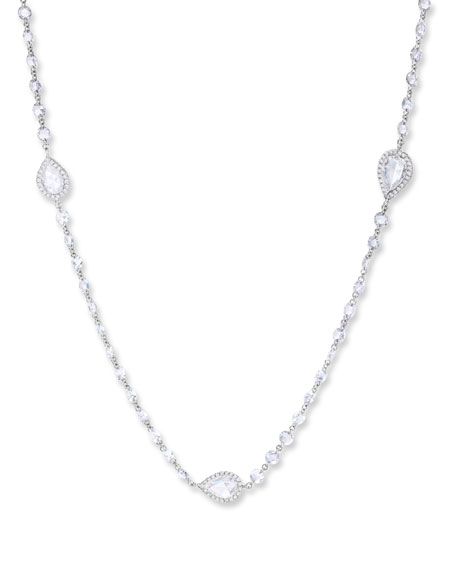 """64 Facets 18k White Gold Diamond Pear-Station Necklace, 32""""L"""
