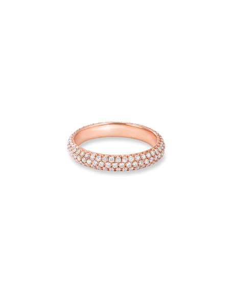 64 Facets 18k Rose Gold Smooth Diamond Pave Ring, Size 5.25