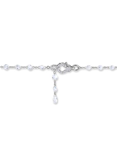 "64 Facets 18k White Gold Rose-Cut Diamond-Strand Necklace, 64""L"