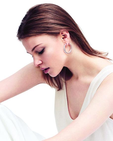 "64 Facets 18k Rose Gold Diamond Inside-Out Hoop Earrings, 1.25"""
