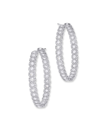 64 Facets 18k White Gold Diamond Inside-Out Hoop Earrings