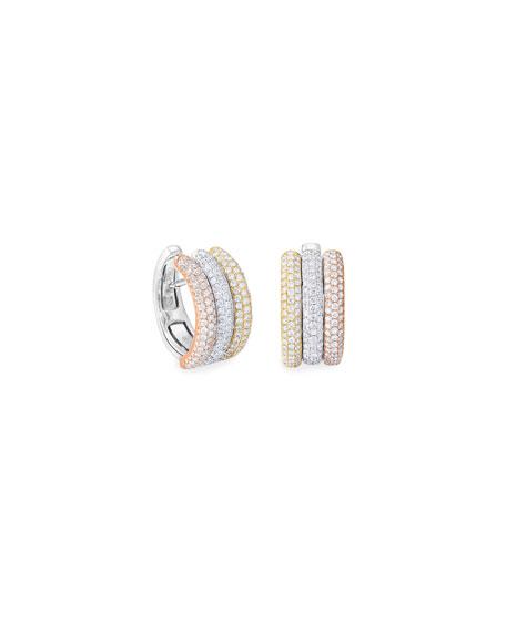 64 Facets 18k Tricolor Diamond Huggie Hoop Earrings