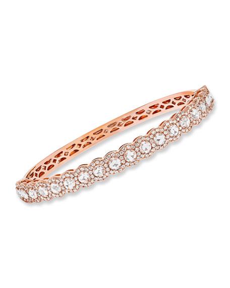 64 Facets 18k Rose Gold Half Scalloped & Scattered Diamond Bangle