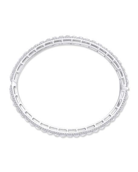 64 Facets 18k White Gold Scallop Diamond Bangle