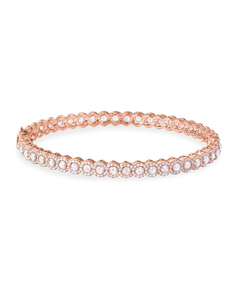 64 Facets 18k Rose Gold Scallop Diamond Bangle