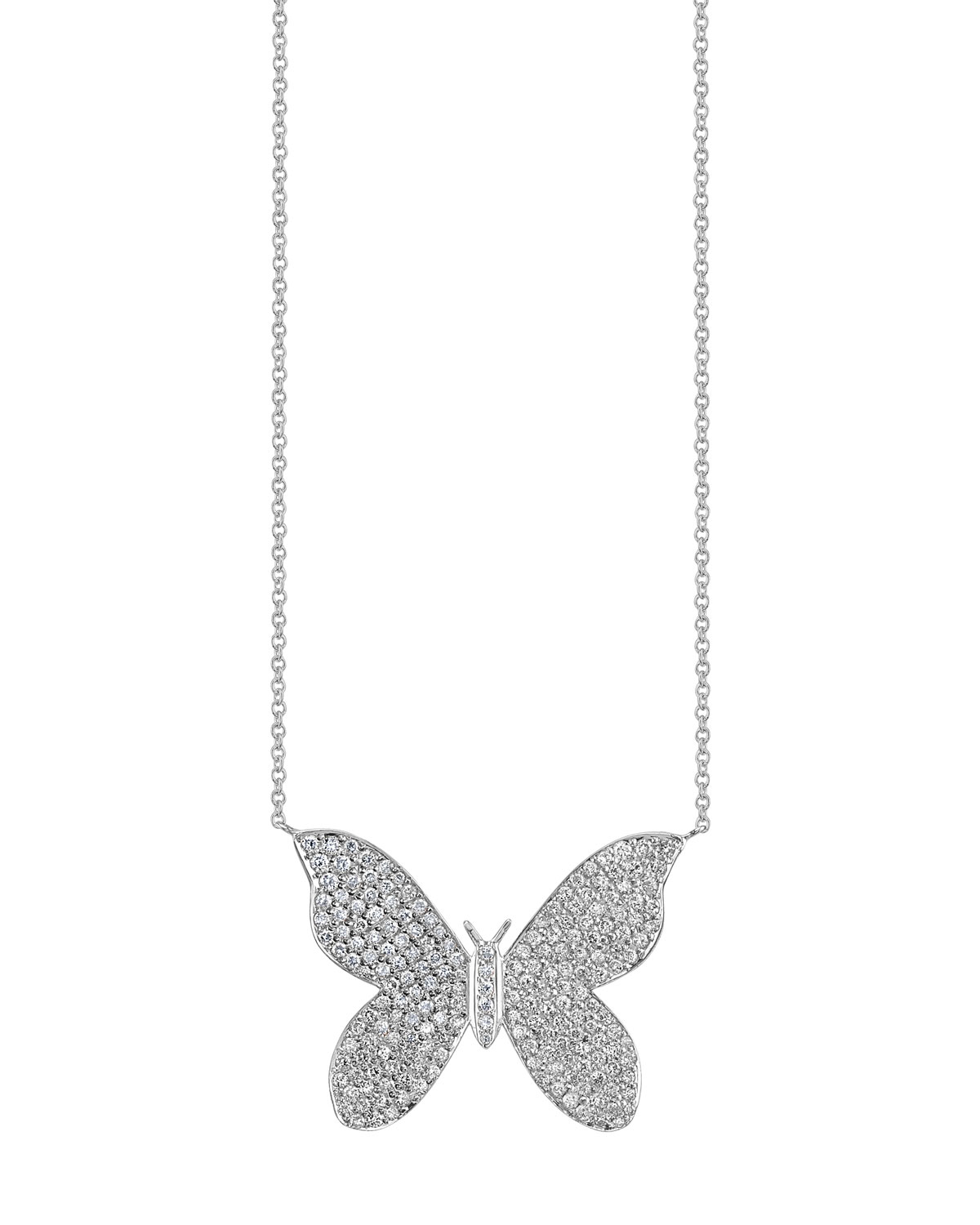 fc5812eaecf1b 14k White Gold Large Diamond Butterfly Necklace