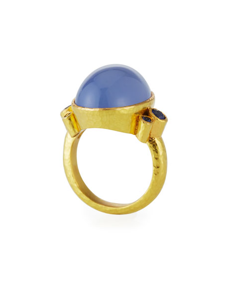 Elizabeth Locke 19k Blue Chalcedony & Sapphire Ring