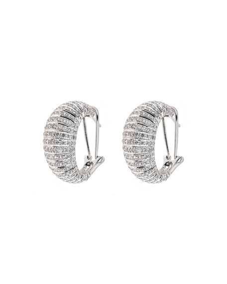 ZYDO Classic Chic 18k White Gold Diamond Huggie Earrings