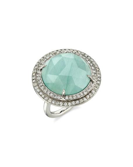 Sheryl Lowe Round Aquamarine Ring w/ Double Halo, Size 7