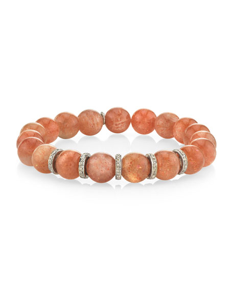 Sheryl Lowe 10mm Sunstone & Diamond 5-Rondelle Bracelet